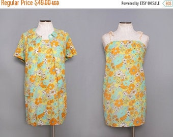 MOVING SALE 60s Mini Dress. Psychedellic Dress. Vintage Sundress 1960s Short Dress. Retro Floral Dress. 60s Festival Dress. Beach Dress Set