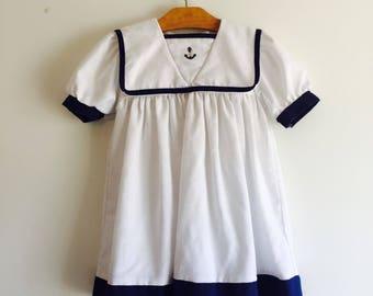 Vintage 80's Little Girl Toddler Sailor Dress 2T