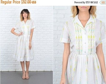 Sale Vintage 60s White Sheer Dress Floral Print Pleated Full A Line Medium M slouchy 9287
