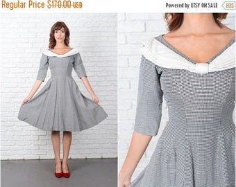 Sale Vintage 50s Black White Gingham Plaid Dress Bow Suzy Perette A Line XS 9503