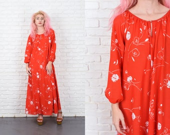 Vintage 70s Red Mod A Line Maxi Long Sleeve White Floral Print Large L 10997