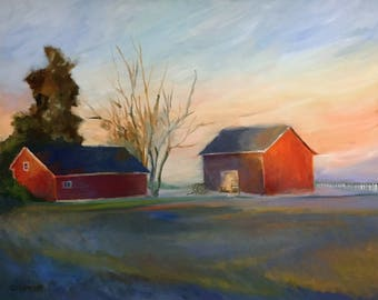 Large Landscape Oil Painting on Canvas Misty Farm Morning Framed Art