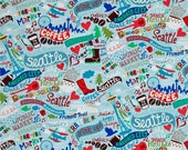 Seattle City Fabric on Rain Blue from Timeless Treasures