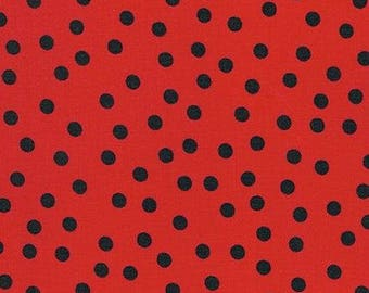 Black Remix Dots on Red (Poppy)From Robert Kaufman's Remix Collection by Ann Kelle