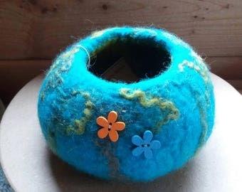 Turquoise felt bowl