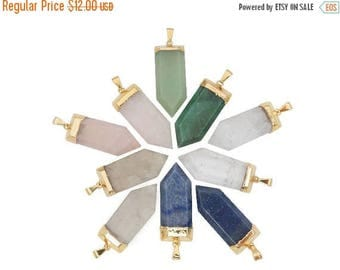 10% off Labor Day Gemstone Spear Pendant with Electroplated 24k Gold Cap. (S121B4)
