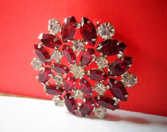mint RED RHINESTONE BROOCH Gorgeous Signed B. DAViD Vintage Pin