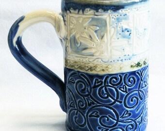 ceramic floral coffee mug 16oz  stoneware 16D060