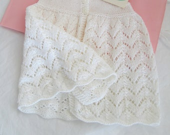 Hand Knit Baby Dress 6M to 9M White Cotton Lace Ready to ship Baby Girl