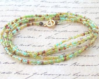 SALE Apple Green Wrap Bracelet, green beaded wrap, green wrap necklace, long, silver, beaded necklace, boho, beach, seed beads, clasp