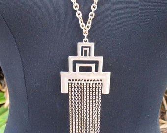 20% Summer SALE Goldtone Bar Pendant Tassel Chain Necklace...Statement Piece