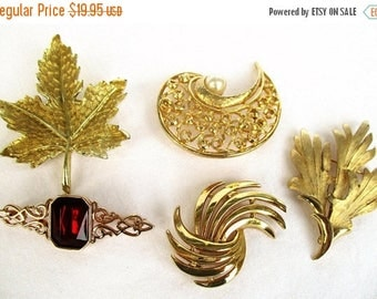 SALE 20% OFF Vintage Collection of 5 Brooches...Costume Goldtone, one marked Trifari, Ruby Red Acrylic stone~Instant Jewelry Collection