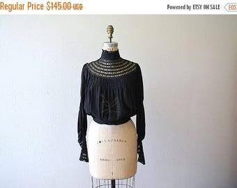 25% SALE Antique silk blouse . vintage 1900s lace blouse