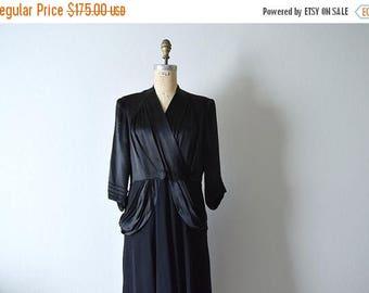 25% SALE 1940s black dress . vintage 40s satin and crepe dress
