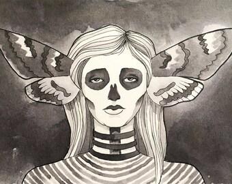 Moth Witch Drawing     Original Art