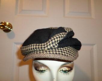 Vintage Newsboy Hat Cap Daniel Cremieux Hat Brown Small Cool Plaid Newsboy Cap