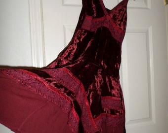 Vintage Velour Dress Scarf Hem Butterfly Hem Halter Burgandy Velvet 100% Rayon  Lace 34 Small Medium Bohemian Hippie
