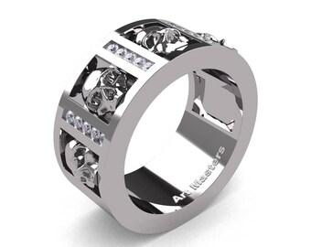 Mens Modern 14K White Gold Channel Diamond Skull Wedding Ring R413-14KWGD