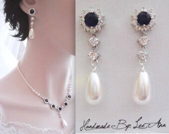 Blue Sapphire and pearl earrings, Blue sapphire Cubic Zirconia earrings, Something Blue, Brides earrings, Swarovski pearl earrings, KATE