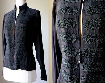 1930s 40s Midnight Blue Black Soutache Braid Blouse Dinner Jacket Top