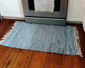 Blue Denim Rag Rug Made by Amish - Farmhouse Chic Runner Rug + Home Decor, Recycled Out of Blue Jeans, Denim Rug, Blue Rug, Denim Rug, 6 FT