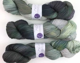 Lorna's Laces, Shepherd Worsted, colorway Anastasia, Aran weight superwash merino wool knitting yarn, gray shade