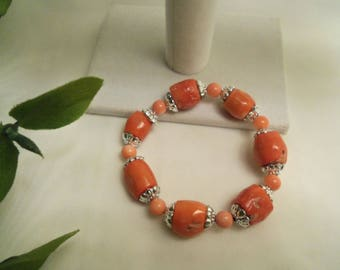 Sale- Women's Pretty Hand Crafted PEACH Natural CORAL & Sterling SILVER 925 Stretch Bracelet- Birthday Gift Her Mom Teen. Women's Jewelry