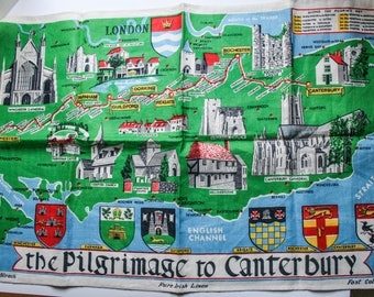 Vintage Map of Canterbury, Pilgrimage to Canturbury, English, Pure Irish Linen Tea Towel