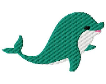 Dolphin Machine Embroidery Design - Instant Download