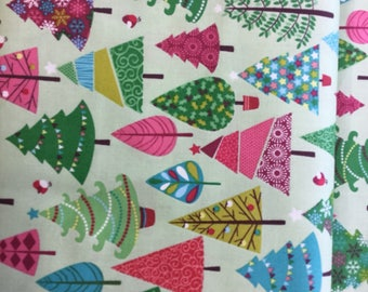 Makeower 1493 Festive Trees 100% Cotton Fabric by the Half Metre