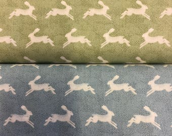 Makower Into the woods Hares in 2 colours By The Half Metre