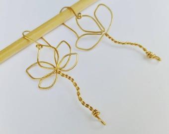 Asymmetrical Lutos Earrings. Wirework Asymmetric Earrings. Long Dangle Flower Petal Earrings. Wire Wrapped Lutos Flower. Israel Jewelry.