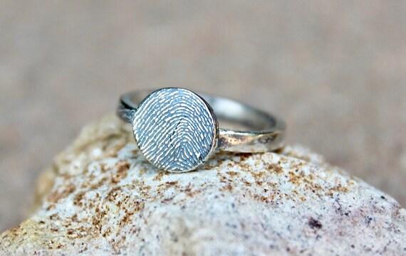 Fingerprint Ring, Circle Fingerprint Ring, Memorial Fingerprint Ring, Finger Print Circle Ring, Real Fingerprint Ring, Sterling Silver Ring