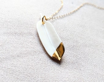 Porcelain Feather Necklace - gold dipped feather - white feather - dainty feather jewelry -