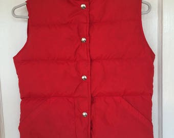 Vintage down vest LL Bean Goose down red puffer vest womens pockets xsmall
