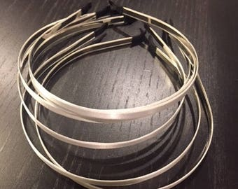 6 pcs WHITE satin covered metal thin headband 5mm--Great for DIY - White