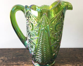 L E Smith Green Iridescent Carnival Glass Pitcher Valtec Tree Star Pattern