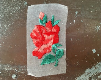 Vintage Silk appliqué rose flower patch vintage embroidered patch original unused on gauze sew on bohemian Art Deco