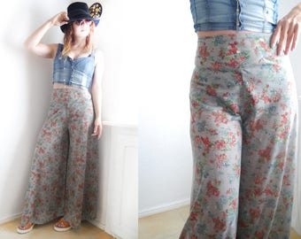 Vintage Sheer Palazzo Pants High Waist Hippy boho trousers Wide Maxi length leg floral sheer pants 70s style