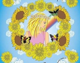 Kadalia and the Dandelions Mandala Art Print