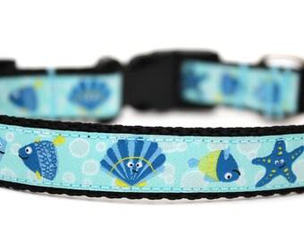 "Summer Dog Collar 5/8"" or 3/4"" Fish Dog Collar Starfish Dog Collar"