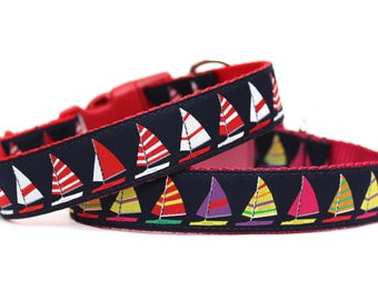 "Summer Dog Collar 1"" Sailboat Dog Collar Pink or Red Boat Dog Collar"