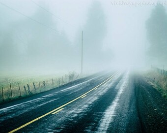 Country Road Photograph, Digital Download, Landscape Photo, Country Decor, Fog Photograph, Rustic Wall Art, Street Photo, Instant Download