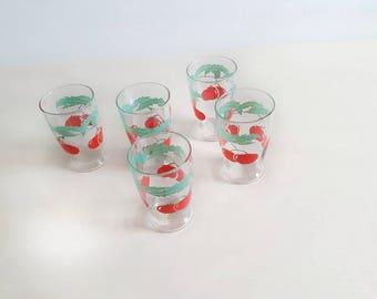Vintage Set of 5 Cherry Juice Glasses