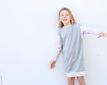 Girls Dress - grey sweater dress
