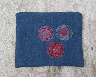 Hand Embroidered Zip Pouch