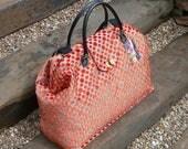 Weekender Bag, Large Carpet Bag, Mary Poppins Bag, Travel Bag, Luggage, carry on luggage, hand luggage, Orange Velvet Bag