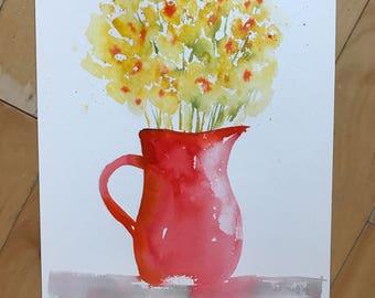Floral Art, Original Watercolor Painting, Floral Bouquet, Floral Vase, Fine Art, Flower Art, Modern Art, Garden Floral