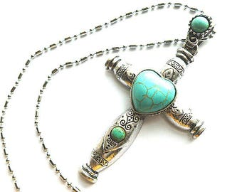 FABULOUS FAUX Silver & Turquoise XL Cross, Etched Vintage Silvertone Turquoise Cross and Neck Chain, Turquoise Heart Cabochon Silver Cross