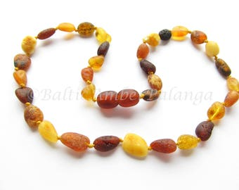 Baltic Amber Teething Necklace, Raw Unpolished Bean Form Multicolor Beads